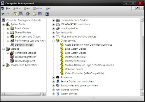 Device manager soundcard